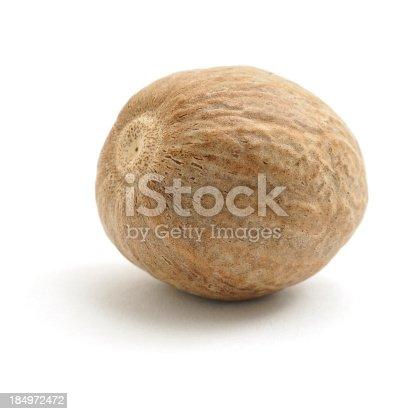 Nutmeg isolated on a white background.