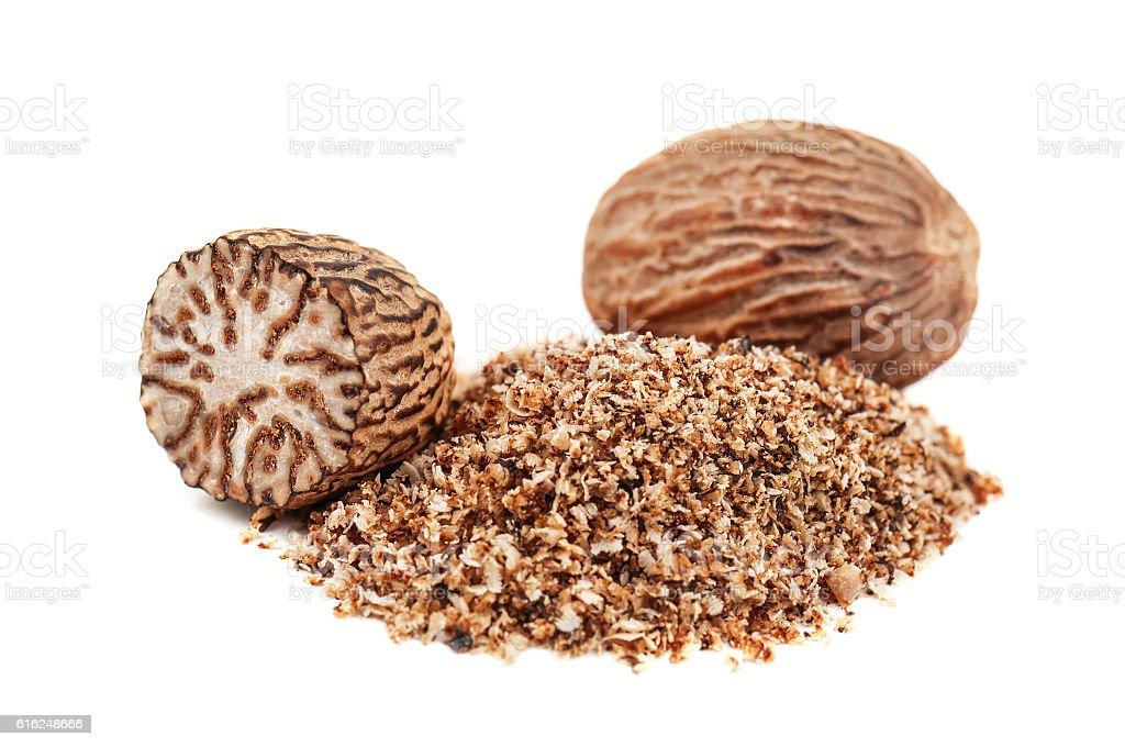 nutmeg powder on white stock photo