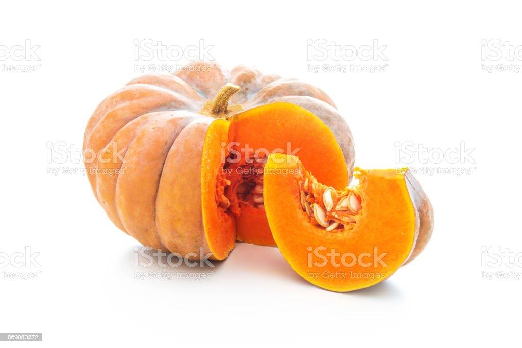 Nutmeg pumpkin isolated on white stock photo