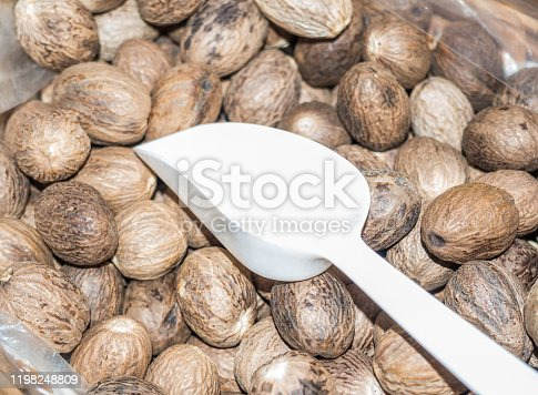 Nutmeg spice at the weekly market