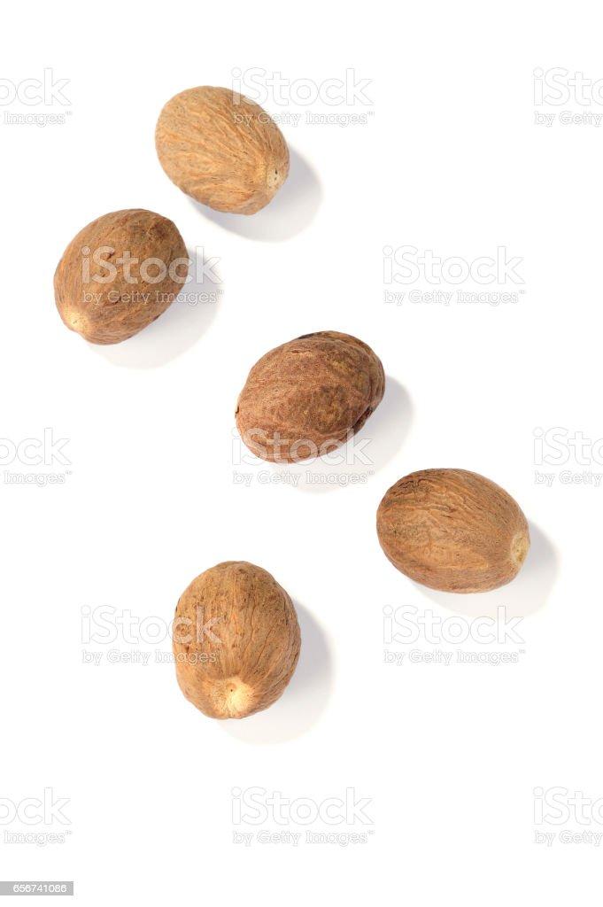 nutmegs isolated stock photo