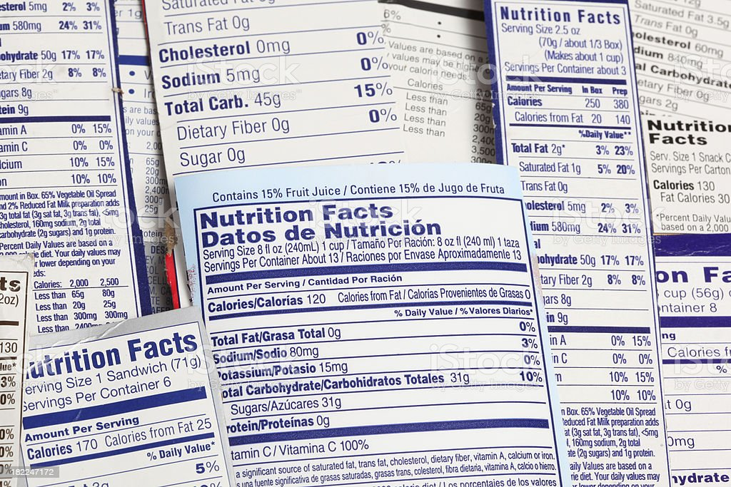 Nutrional Label an important document for diet. stock photo