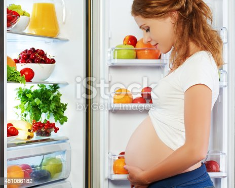 istock nutrition and diet during pregnancy. Pregnant woman with fruits 481086182