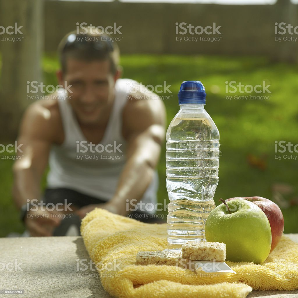 nutrition and hydration after sport stock photo