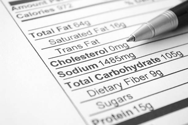 nutrition facts and a pen on paper - sodium stock pictures, royalty-free photos & images