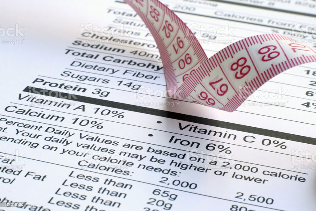 Nutrition facts and measure tape royalty-free stock photo