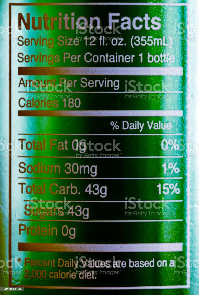 nutrition facts four stock photo
