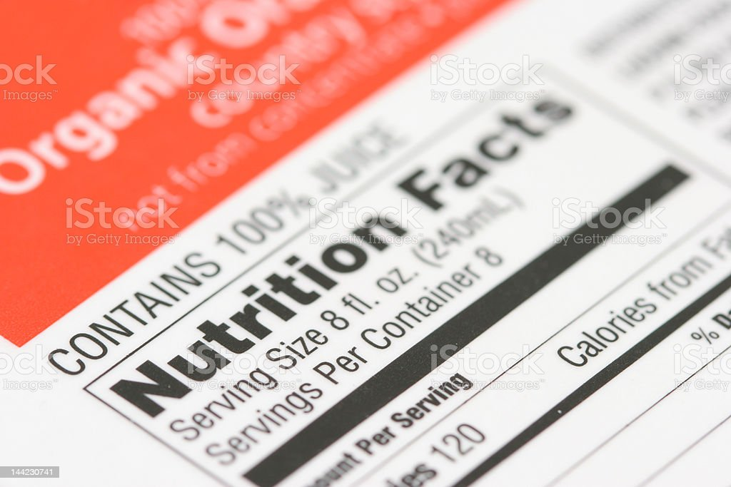 Nutrition facts from a box of orange juice stock photo