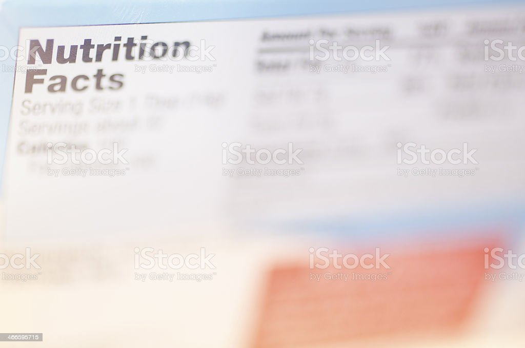 Nutrition Facts Label stock photo
