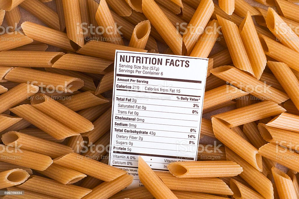 Nutrition facts of Brown Rice Pasta stock photo