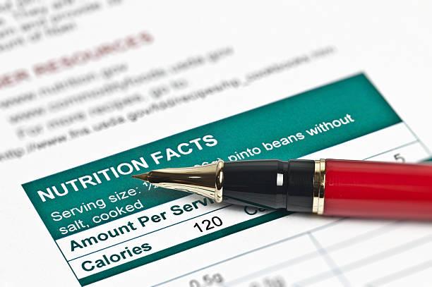 ernährung fakten - matheblatt etiketten stock-fotos und bilder