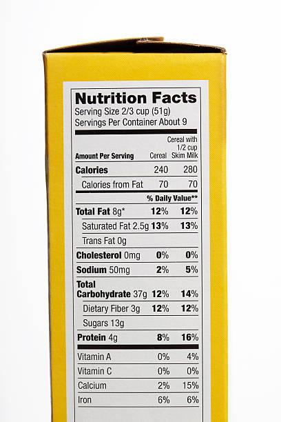 nutrição de factos - ingrediente imagens e fotografias de stock