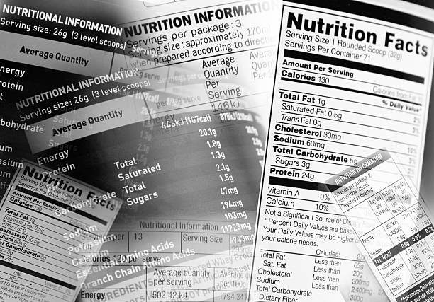 nutrition facts - nutrition label stock photos and pictures