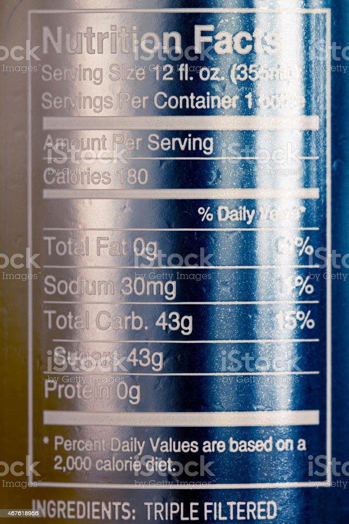 Nutrition facts three stock photo