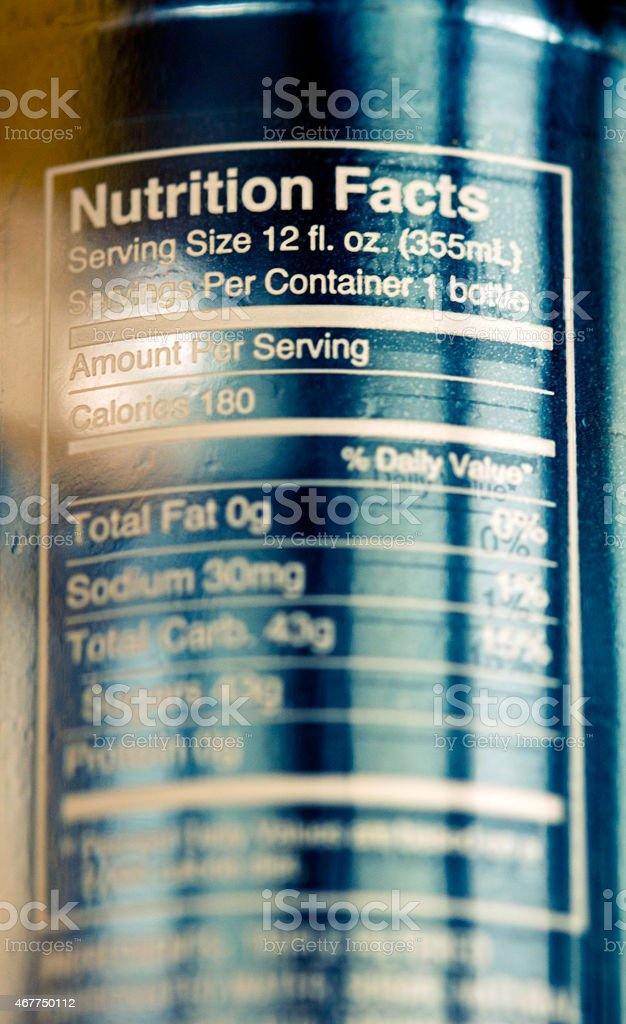 Nutrition facts two stock photo