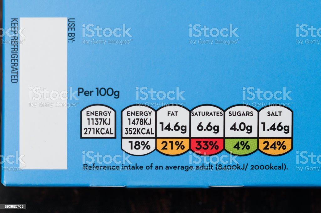 Nutrition information labels stock photo