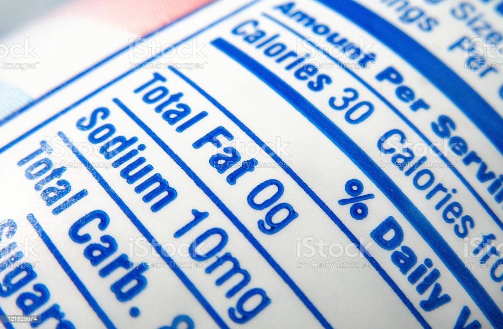 nutrition label; calories, fat and sodium content stock photo