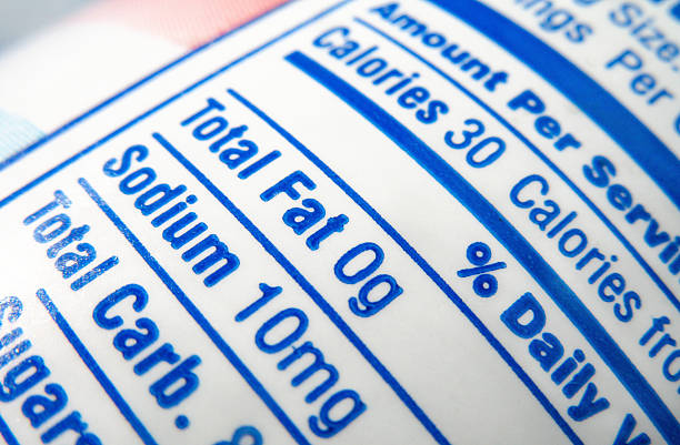 nutrition label; calories, fat and sodium content - sodium stock pictures, royalty-free photos & images