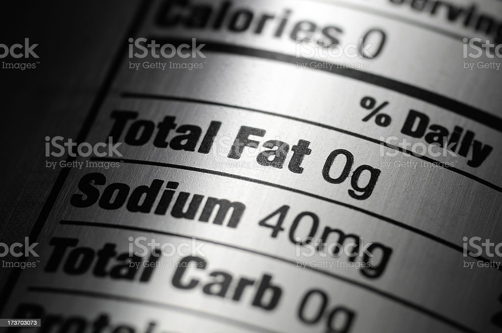 Nutrition Label Close-up of Silver Aluminum Diet Soda Can stock photo