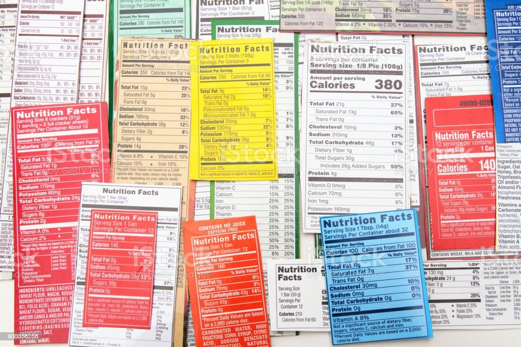 Nutrition label collage of multiple packaging labels. Nutrition facts...