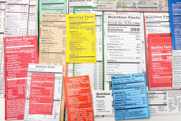 Nutrition label collage of multiple packaging labels stock photo