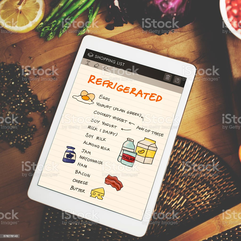 Nutrition Refrigerated Grocery Shopping List Concept stock photo