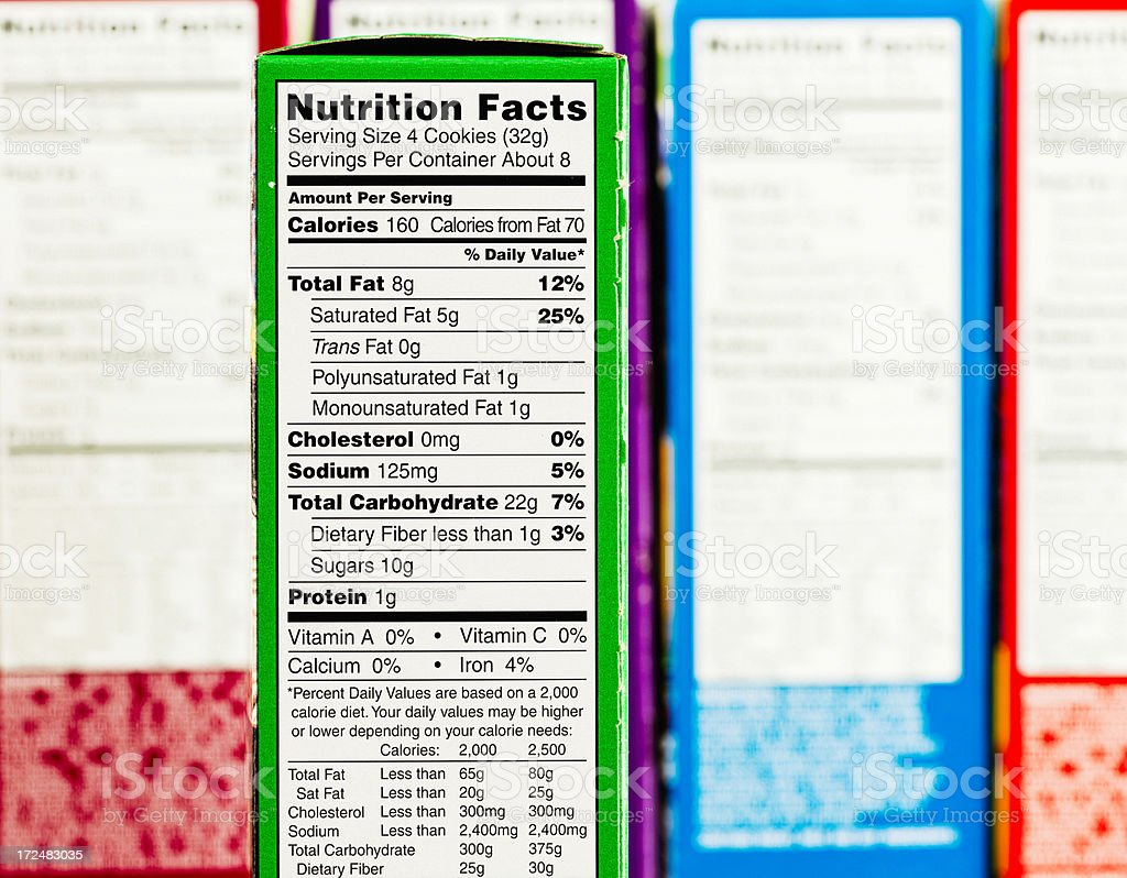 Nutritional Facts stock photo