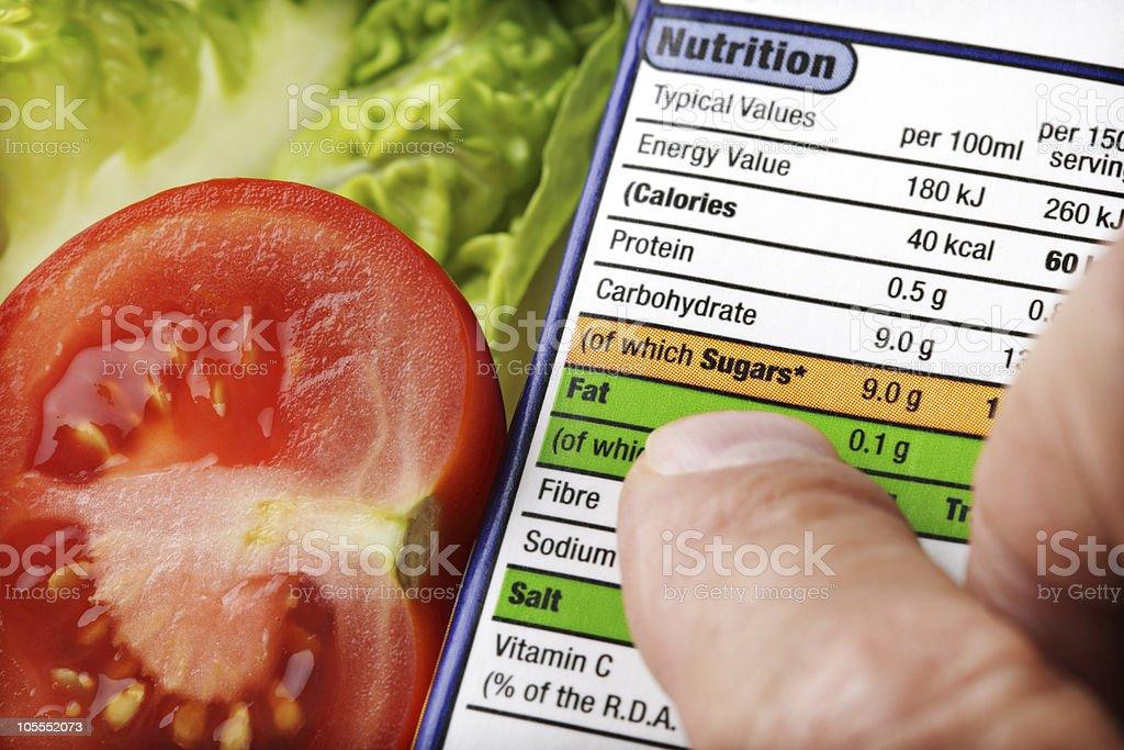 Etiqueta de nutrición - Foto de stock de Alimento libre de derechos