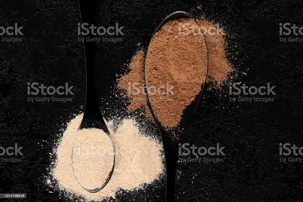 Nutritional supplement ashwagandha and guarana. stock photo