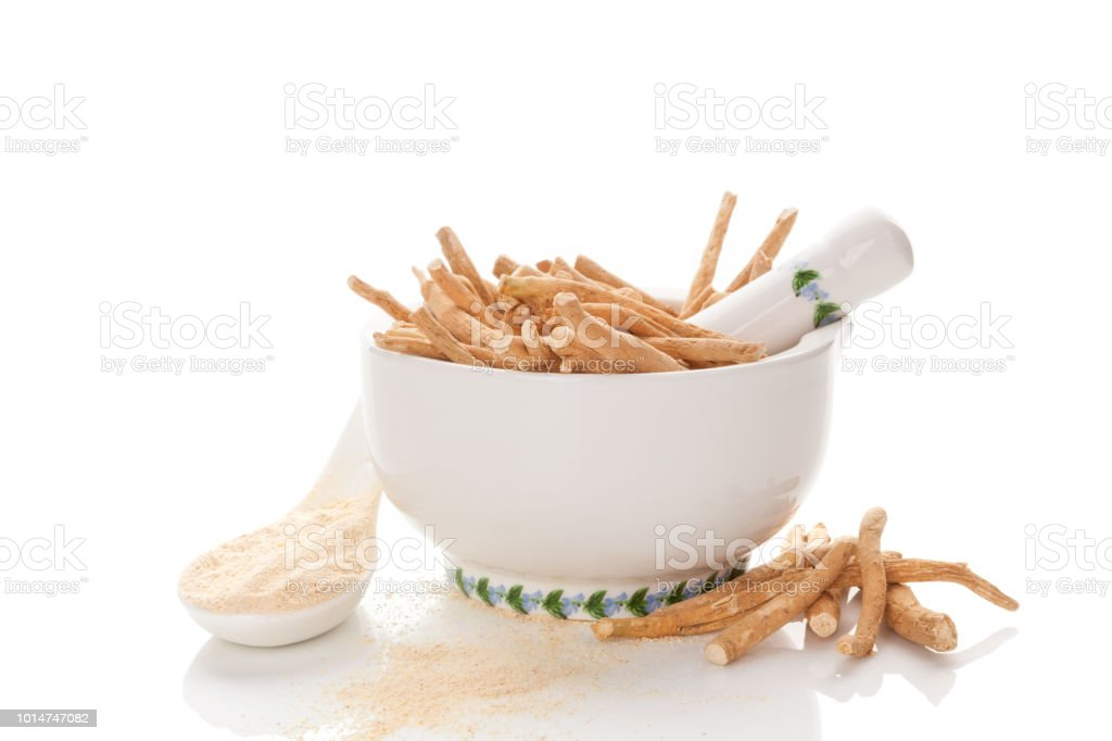 Nutritional supplement ashwagandha. stock photo