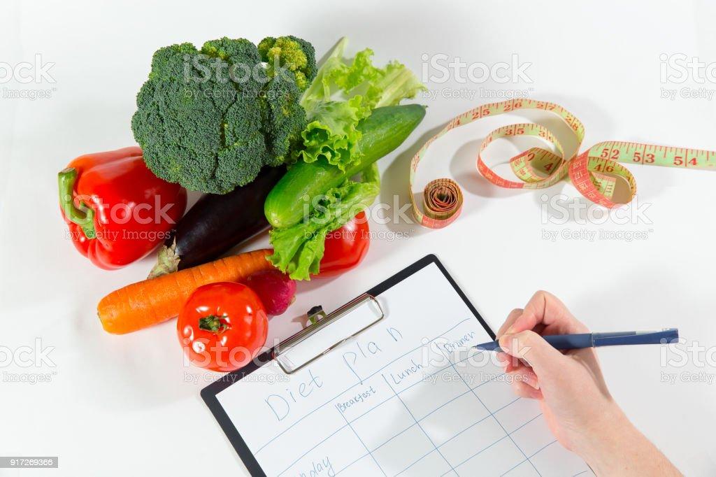 Ernährungsberaterin Arzt Arbeitsplatzkonzept, Ansicht von oben – Foto