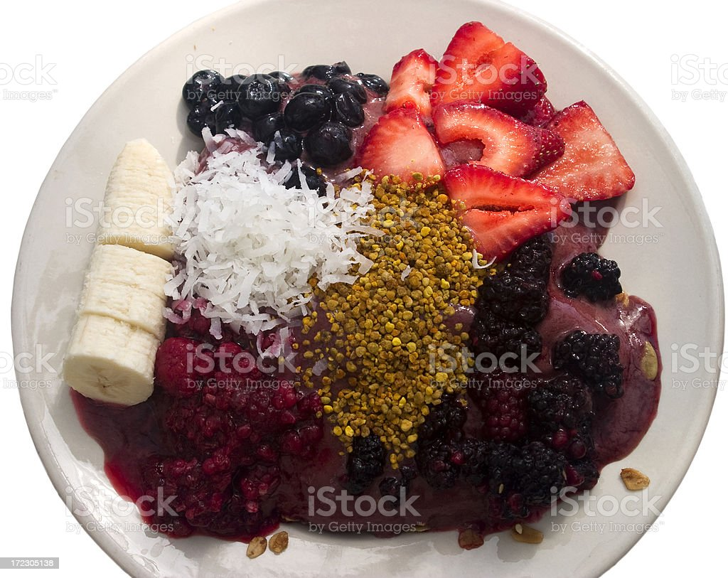 Nutritious Acai Bowl with Strawberry, Banana, Coconut Topping, Health-Food stock photo