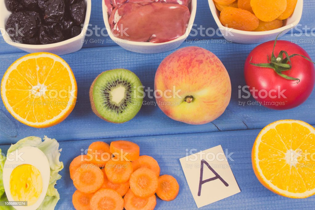 Nutritious eating containing vitamin A, healthy nutrition as source minerals and fiber stock photo
