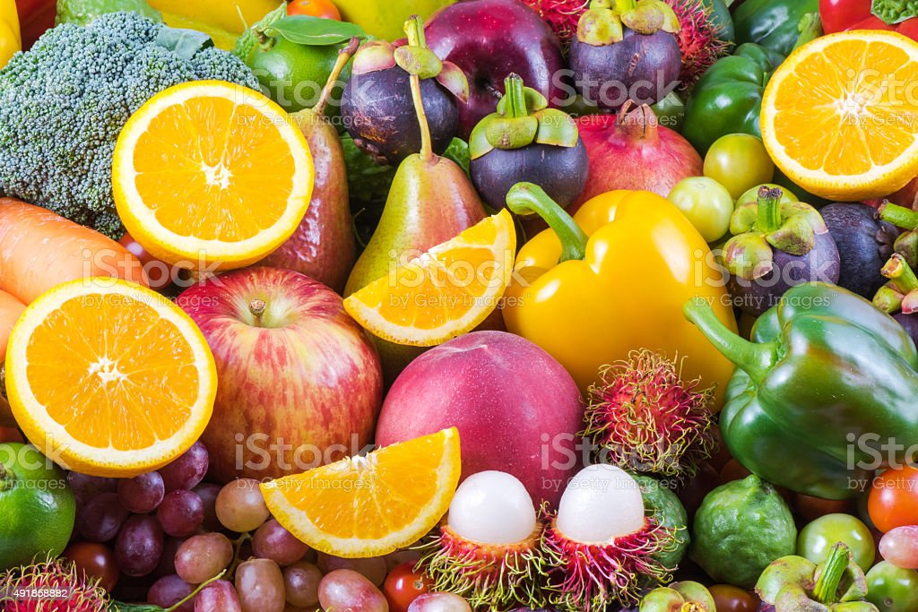 Nutritious fruit and vegetables organic for healthy stock photo