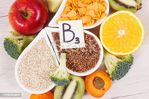 Nutritious different products and ingredients containing vitamin B3, dietary fiber and natural minerals, concept of healthy lifestyle and nutrition