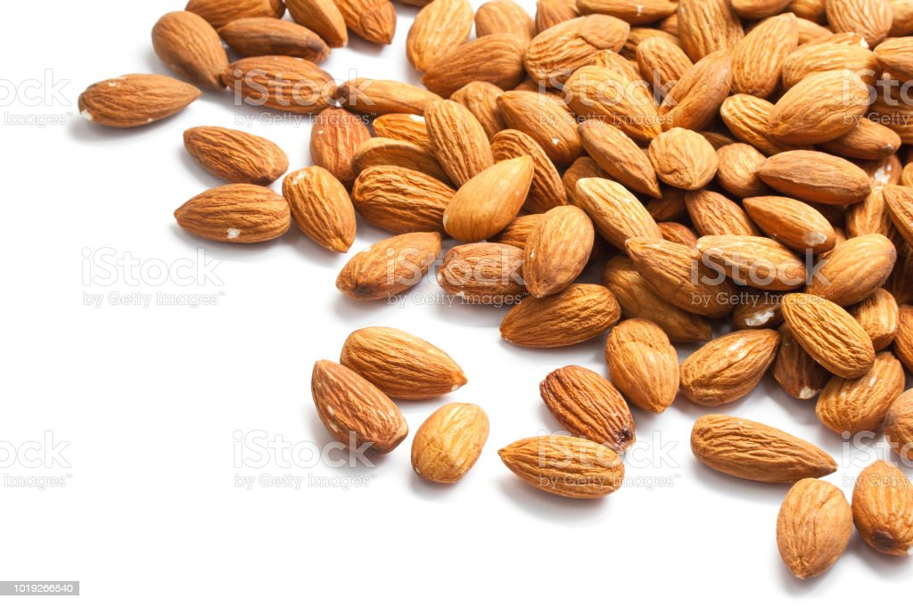 Nuts almonds isolated on white.