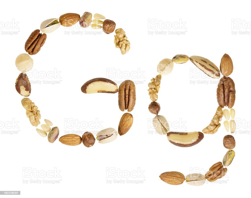 Nuts alphabet letter G, upper and lower case royalty-free stock photo