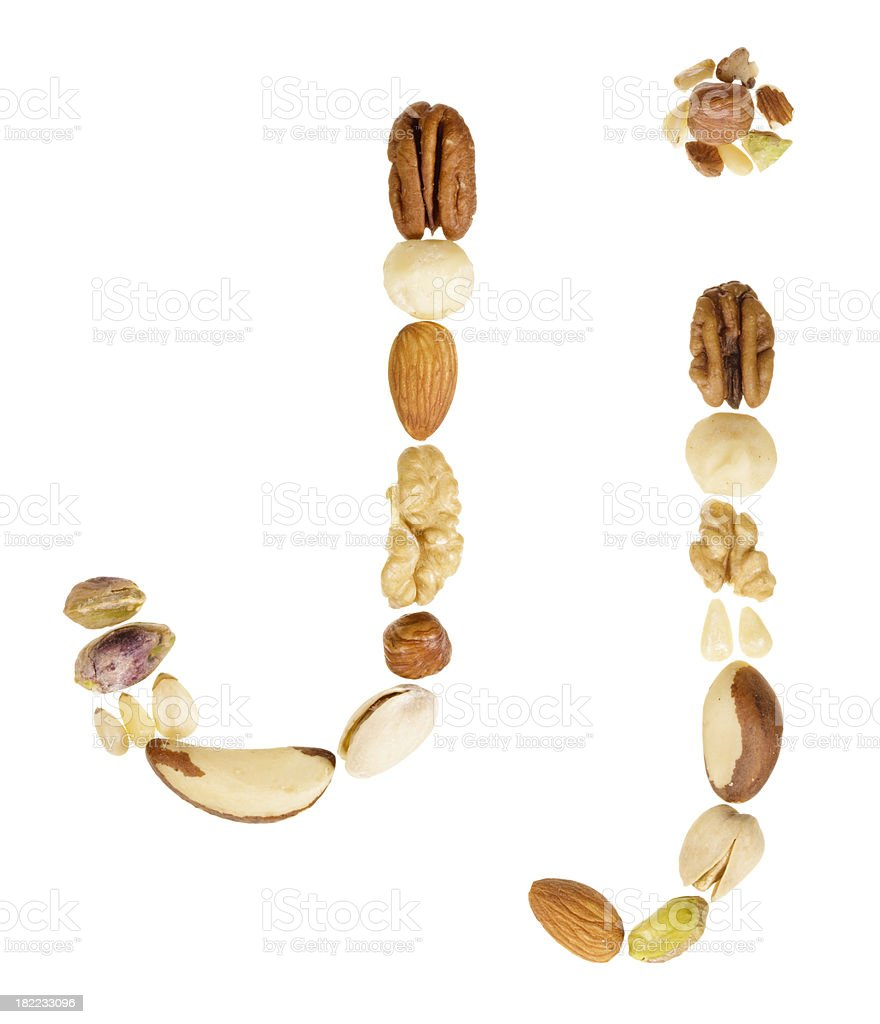 Nuts alphabet letter J, upper and lower case royalty-free stock photo