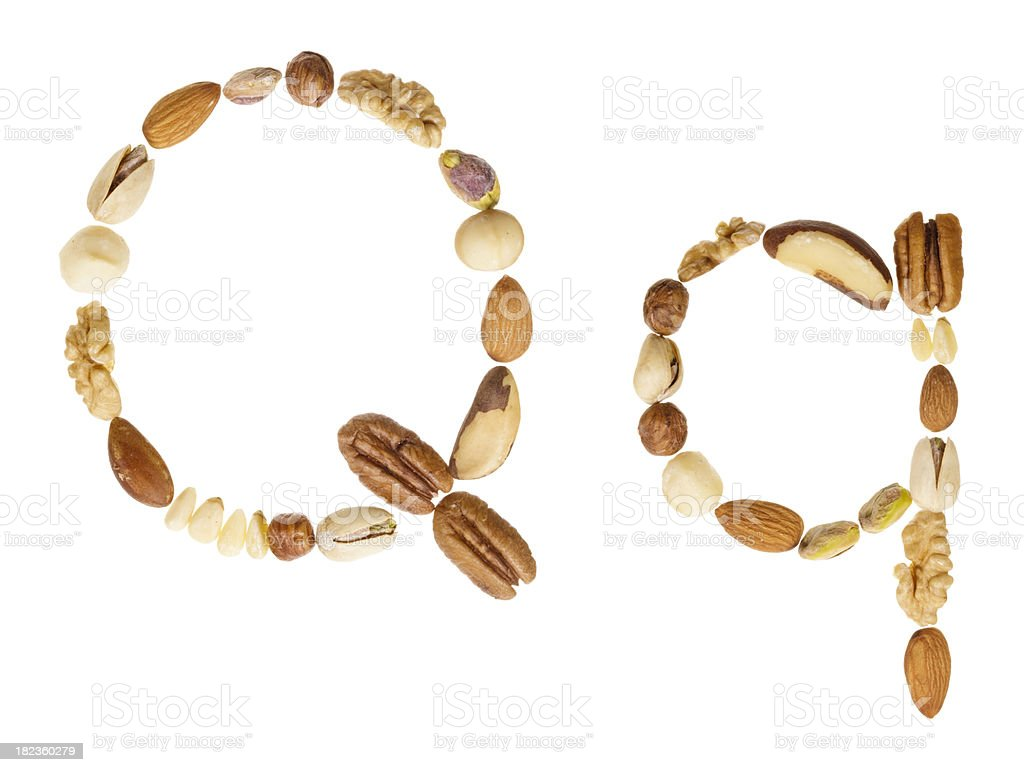 Nuts alphabet letter Q, upper and lower case royalty-free stock photo