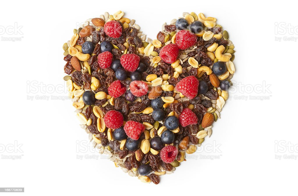 Nuts and Berries in Heart Shape royalty-free stock photo
