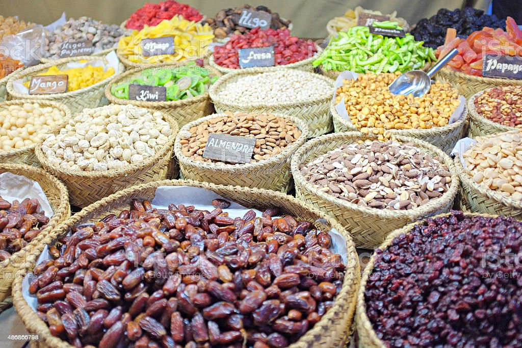 Nuts and dehydrated fruits stock photo