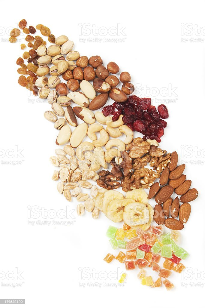 Nuts and dried fruit royalty-free stock photo