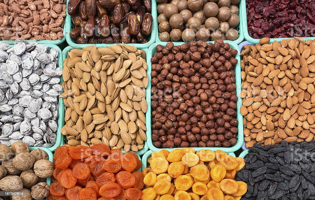 Nuts and Dried Fruits in the Bazaar of Almaty, Kazakhstan stock photo