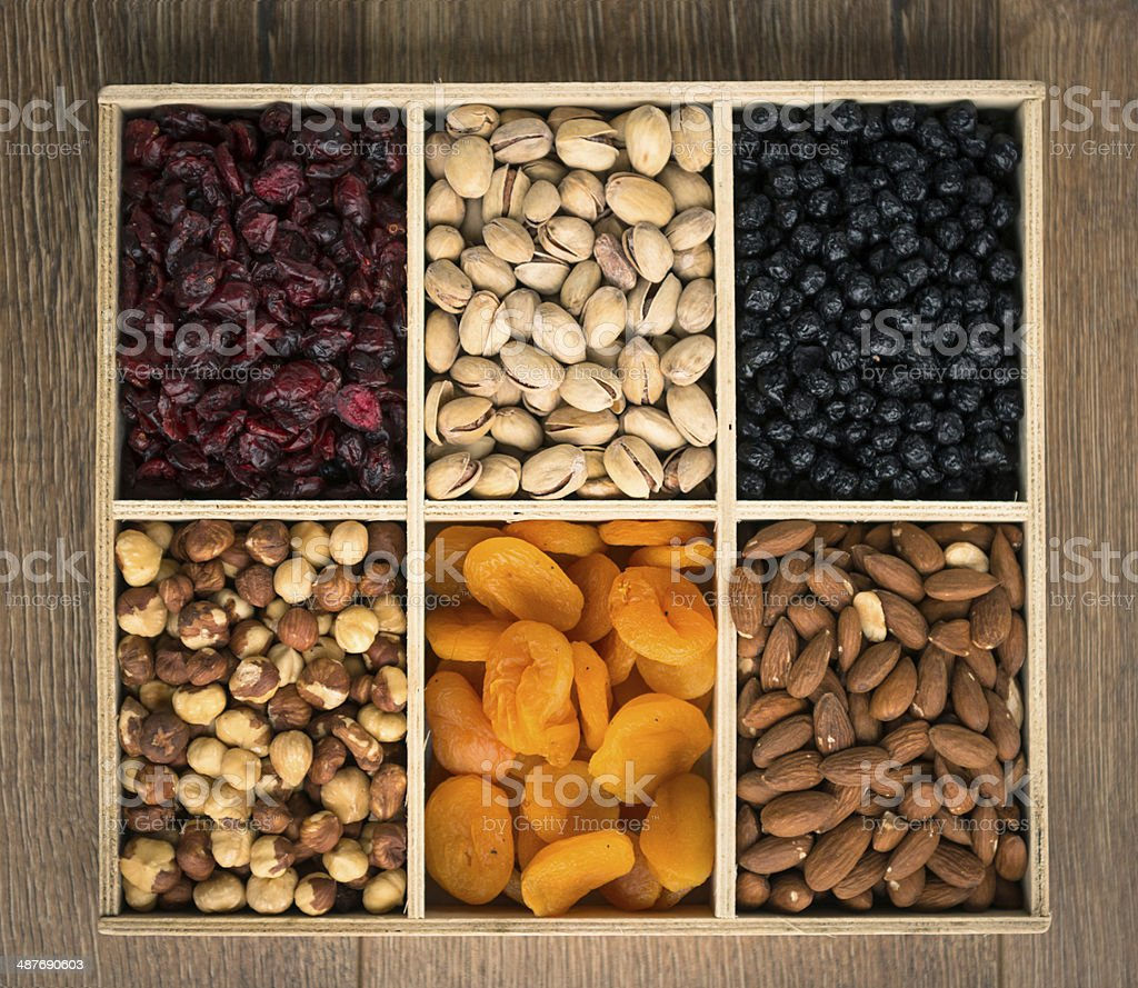 Nuts and dried fruits. stock photo