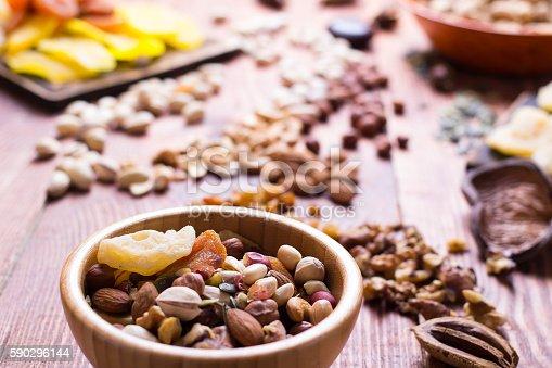 Nuts And Dry Fruit In Bowls On Boards-foton och fler bilder på Ananas
