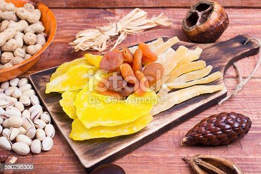 Nuts And Dry Fruit In Plates On Boards-foton och fler bilder på Ananas