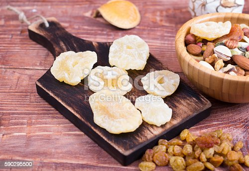 Nuts And Dry Fruit In Plates On Boards-foton och fler bilder på Ananas