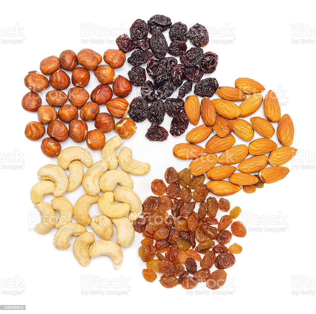 Nuts and dry fruits isolated stock photo