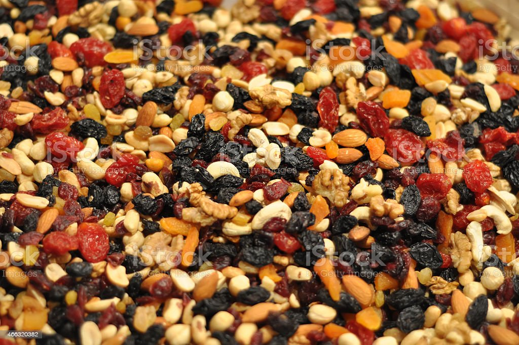 nuts and raisins stock photo