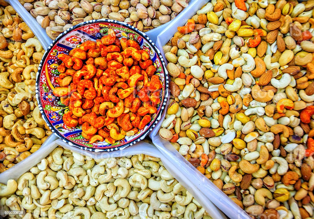 Nuts at the market royalty-free stock photo